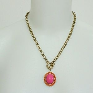 Pink and orange gold tone statement necklace